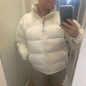 White Northface Goose Down Puffer Coat